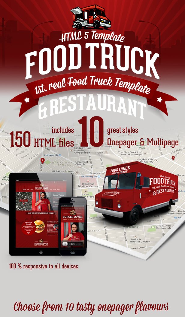 Food Truck & Restaurant 10 Styles - HTML5 Template
